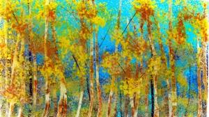 """Birches on Blue 10"""" x 17"""""""